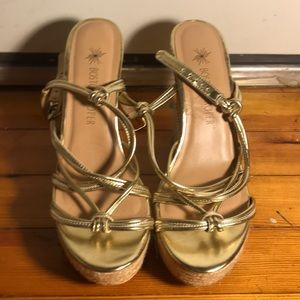 Boston Proper Gold Cork Wedge Sandals with Strap